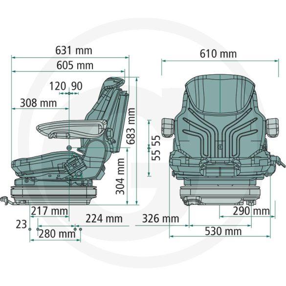 GRAMMER Primo EL Plus 170kg-ig, targoncaülés szövethuzattal, 12, ülésfűtéssel INGYEN házhoz szállítva